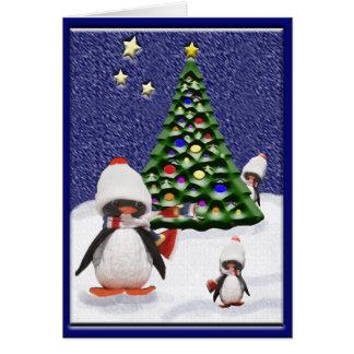 Paraíso do Natal do pinguim Cartão Comemorativo