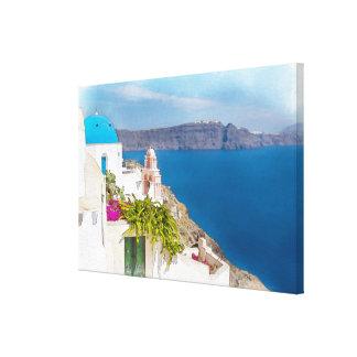Paraíso Grecian. Pintura da aguarela de Santorini Impressão Em Tela