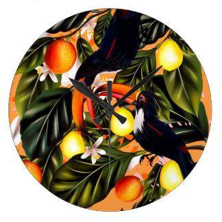 Paraíso tropical. Toucans e citrino Relógio Grande