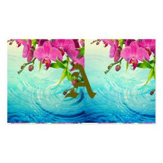 paraíso tropical, zen, paz, orquídea, água azul, cartão de visita