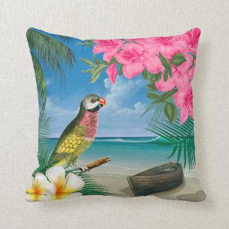 Parakeet bonito em um design tropical do oceano almofada