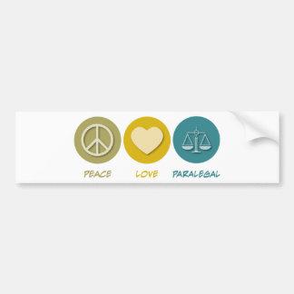 Paralegal do amor da paz adesivo para carro