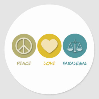 Paralegal do amor da paz adesivo
