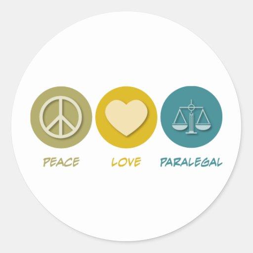 Paralegal do amor da paz adesivo em formato redondo