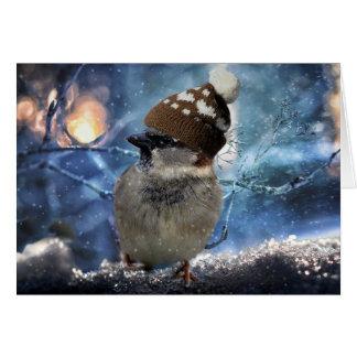 Pardal no cartão de Natal do chapéu da neve