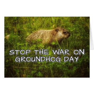 Pare a guerra no cartão do dia de groundhog