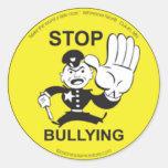 Pare de tiranizar etiquetas adesivos redondos