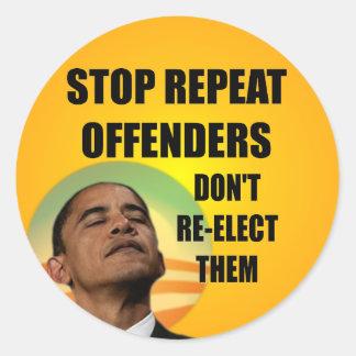 Pare delinquente da repetição - anti Obama Adesivo Redondo