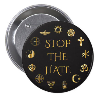 """""""Pare o ódio"""" com símbolos de religiões do mundo Bóton Redondo 7.62cm"""