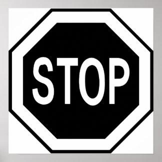 Pare o sinal do símbolo - preto no branco poster
