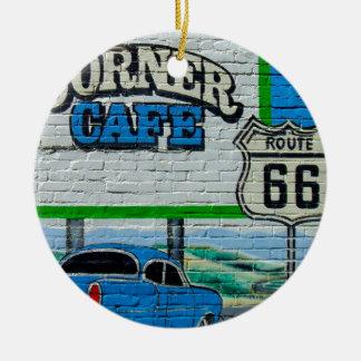 Parede de canto do café da rota 66 ornamento de cerâmica