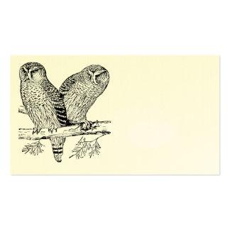 Pares de corujas cartão de visita