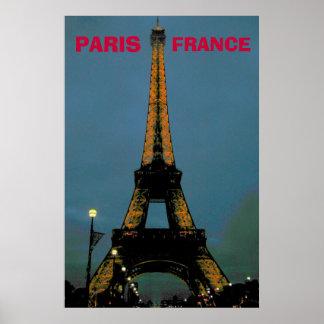 Paris em a noite, excursão Eiffel Pôster
