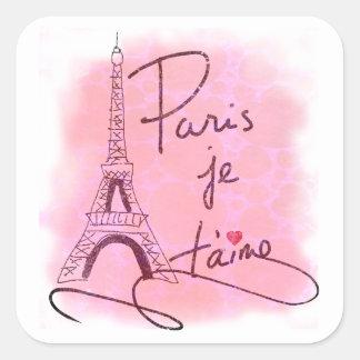 Paris eu te amo PXLY cor-de-rosa Adesivo Quadrado