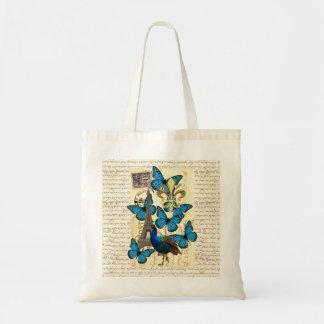 Paris, pavão e borboletas bolsa tote
