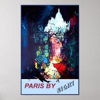 Paris pelo poster de viagens da noite