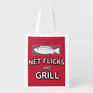 Paródia engraçada da piada dos peixes da rede de sacola reusável