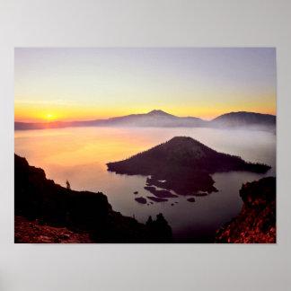 Parque nacional 3 dos EUA, Oregon, lago crater Poster