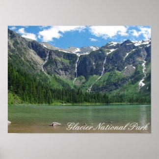 Parque nacional de geleira do lago avalanche pôster