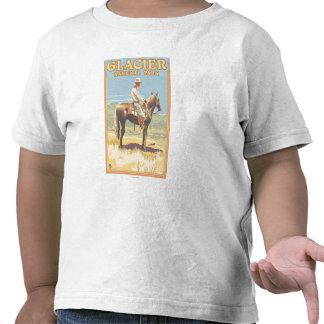 Parque nacional de geleira do vaqueiro a cavalo -, tshirt