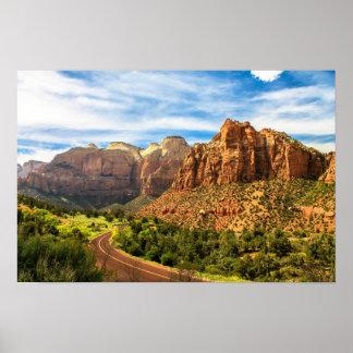 Parque nacional de Utá das montanhas de Zion Poster