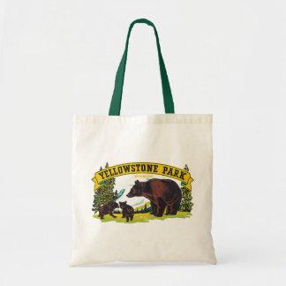 Parque nacional de Yellowstone do vintage com Sacola Tote Budget
