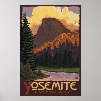 Parque nacional de Yosemite - meio poster de viage Pôster