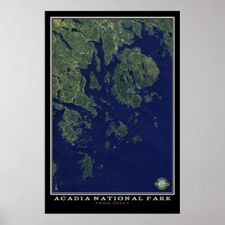 Parque nacional Maine do Acadia do satélite do Poster