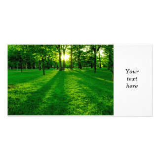 Parque verde cartão com foto personalizado