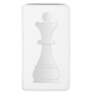 Parte de xadrez branca da rainha bolsa para celular