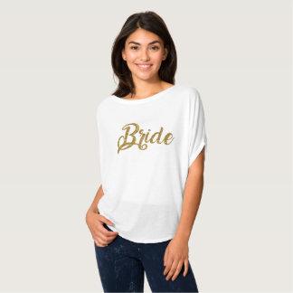 Parte superior de Flowy do brilho do ouro da noiva Camiseta