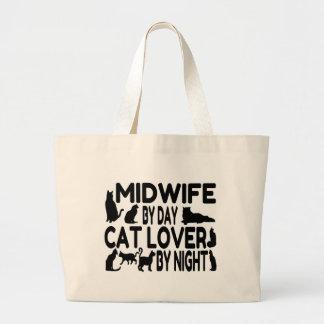 Parteira do amante do gato sacola tote jumbo