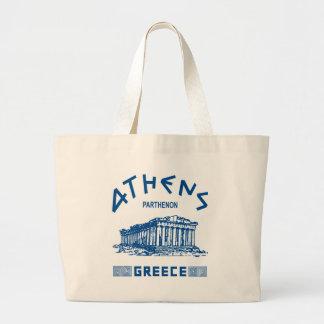 Partenon - Atenas - grego (azul) Bolsa Tote Grande