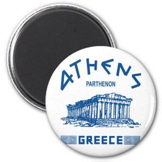 Partenon - Atenas - grego (azul) Ímã Redondo 5.08cm