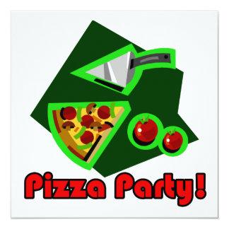Partido 2 da pizza convite quadrado 13.35 x 13.35cm