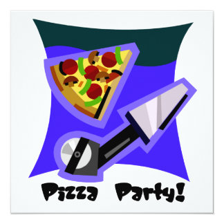Partido 4 da pizza convite quadrado 13.35 x 13.35cm