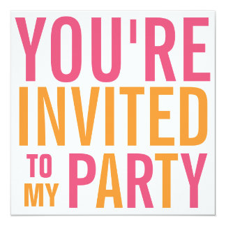 Partido adolescente cor-de-rosa e alaranjado do convite personalizados