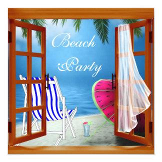 Partido adulto da praia da praia da palmeira convite quadrado 13.35 x 13.35cm