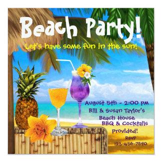 Partido adulto da praia dos cocktail da palmeira convite quadrado 13.35 x 13.35cm