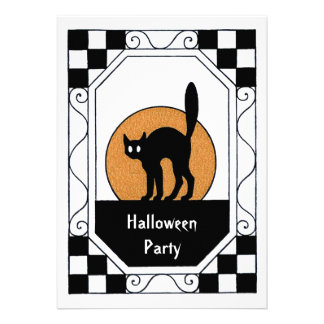 Partido alaranjado do Dia das Bruxas da lua do gat