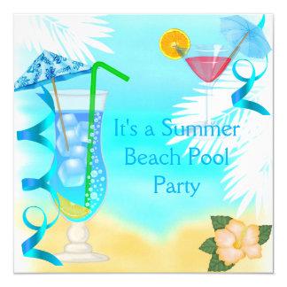 Partido azul da praia do cocktail do divertimento convite quadrado 13.35 x 13.35cm