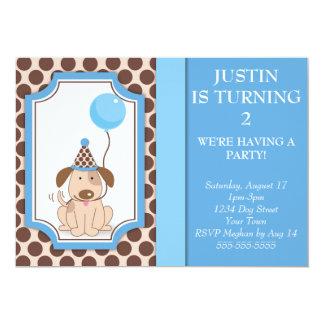 Partido azul do filhote de cachorro convite personalizados