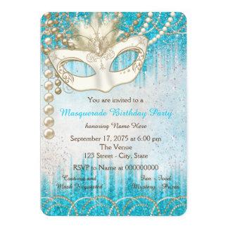 Partido azul do mascarada da aguarela da pérola da convite 12.7 x 17.78cm