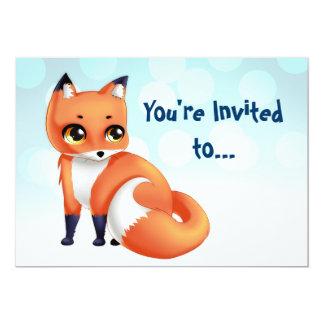 Partido bithday da raposa bonito dos desenhos convite personalizados