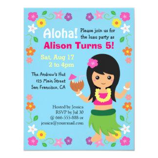 Partido bonito colorido de Luau da menina de Havaí Convite 10.79 X 13.97cm