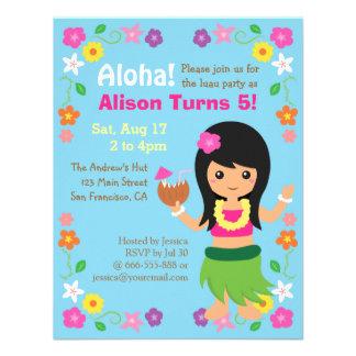 Partido bonito colorido de Luau da menina de Havaí Convite Personalizados