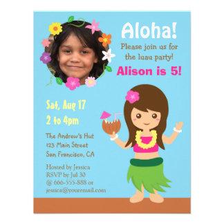 Partido bonito de Luau da menina de Havaí Hula da Convite Personalizado