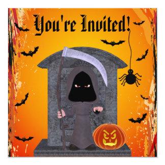Partido bonito do Dia das Bruxas do Ceifador Convite Quadrado 13.35 X 13.35cm