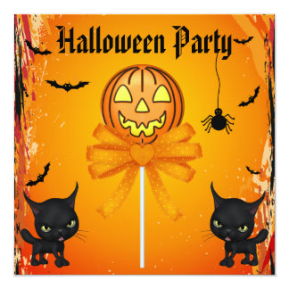 Partido bonito do Dia das Bruxas dos doces, dos Convite Quadrado 13.35 X 13.35cm