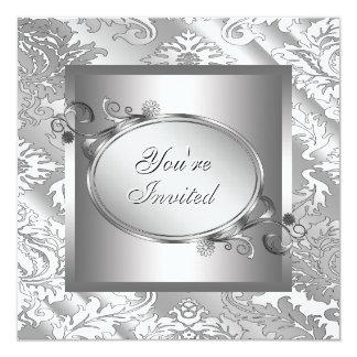 Partido branco de prata do damasco convites personalizado